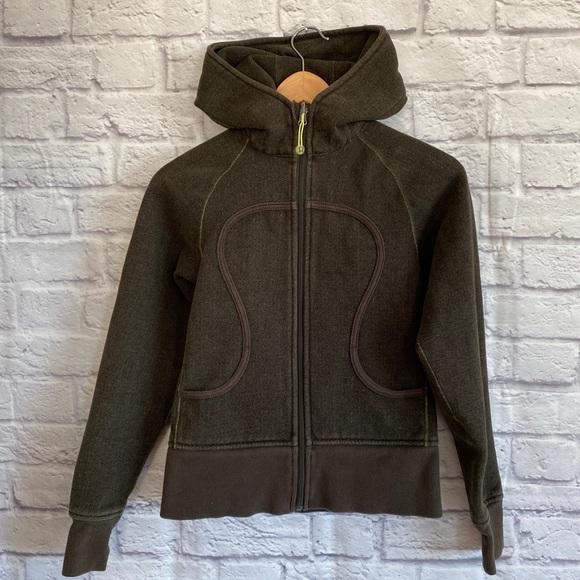 Lululemon Dark Green Scuba Zip Up Hoodie Jacket